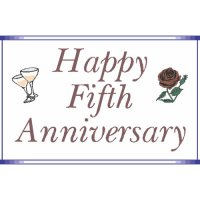 Happy Fifth Anniversary Light Iron On Stickers (Heat Transfers)